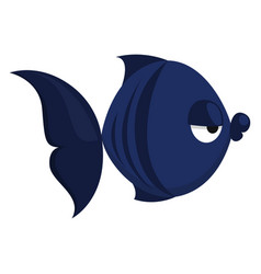 Bored blue fish on white background vector