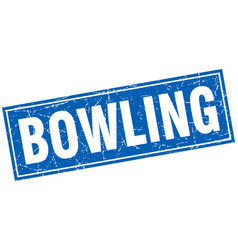 Bowling square stamp vector