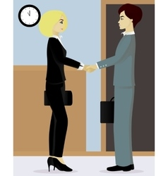 Businessman and businesswoman shake hands vector
