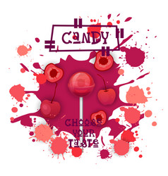 Candy cherry lolly dessert colorful icon choose vector