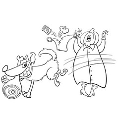 cartoon dog stealing ham from old lady coloring vector image