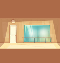 Cartoon empty dance-hall with mirrors vector
