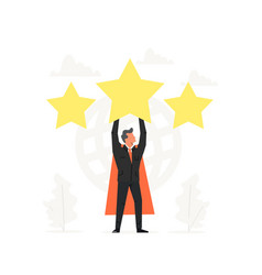 Celebrating a super businessman hold the big star vector