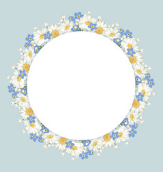 chamomile and forget-me-not flowers frame on vector image