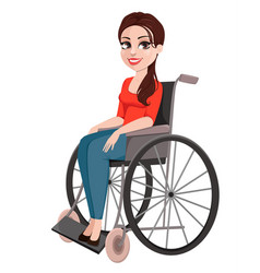 Cheerful girl in wheelchair woman with disability vector