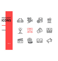 Cinema - modern line design style icons set vector