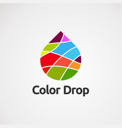 Color drop with simple touch logo icon element vector