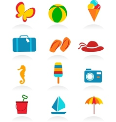 colorful summer icons vector image