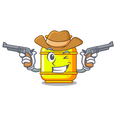 Cowboy flammable gas tank on cartoon the vector