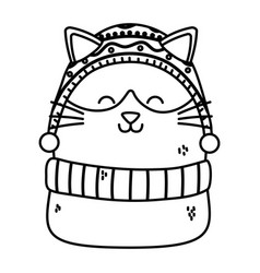 Cute cat celebration happy christmas thick line vector