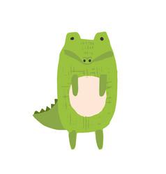 Cute childish hand drawn crocodile vector