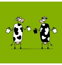 Cute cows with buckets of milk sketch vector