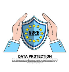 Data safety shield protects palms over general vector