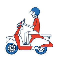 Delivery boy ride scooter motorcycle service order vector