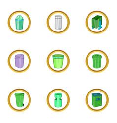 Eco garbage icon set cartoon style vector