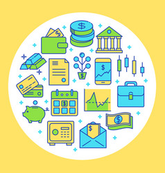 finance and money round concept in colored line vector image