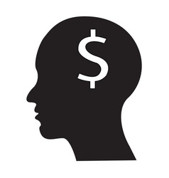 flat black brain icon vector image