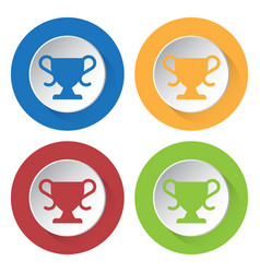 four round color icons sports cup vector image