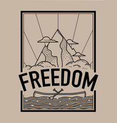 Freedom concept t-shirt print and embroidery vector