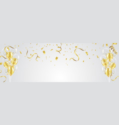 Gold balloons confetti and streamers on white vector