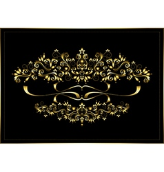 Gold luxury frame with a calligraphic ornament vector