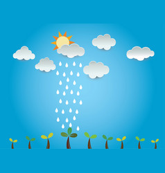 Growth tree cloud rain on background vector