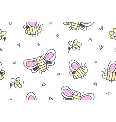 hand drawn butterflies seamless pattern vector image