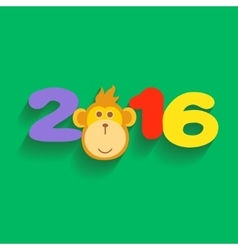 Happy New Year 2016 with Monkey Flat Design vector image