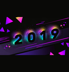 Happy new year 2019 with neon glow vector