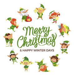 happy winter days postcard with elf hero vector image