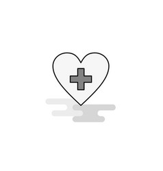heart web icon flat line filled gray icon vector image