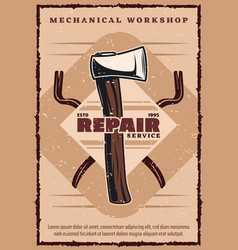 House repair service vintage banner with work tool vector