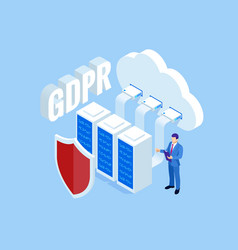 isometric safety business general data protection vector image