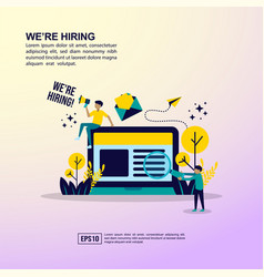 job hiring concept with character template for vector image