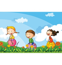 Kids playing with the bouncing balloons vector image vector image