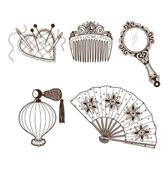 Ladys vintage beauty accessories collection vector