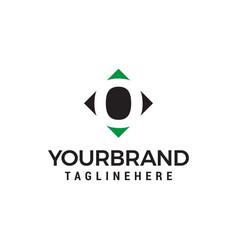 Letter o negative space square logo design vector