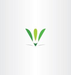 Letter v green leaf eco logo v icon logotype vector