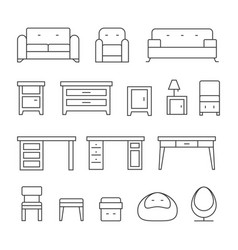 living room furniture line icons set vector image