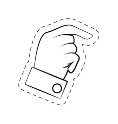 Male hand pointed cutted line vector