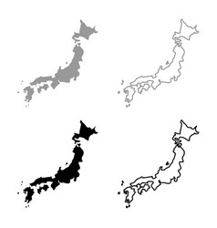 Map of japon icon set grey black color vector