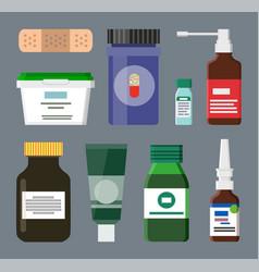 Medicine bottles and box set vector