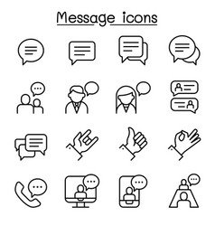 message chat discussion icon set in thin line vector image
