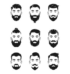 monochrome avatar systems of hipsters portraits vector image