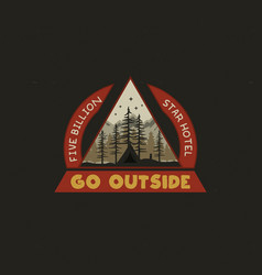 mountain camping badge design vector image