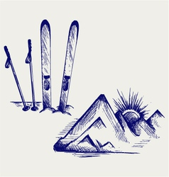 Mountains and ski equipments vector image