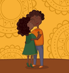 multicultural boy and girl kissing vector image vector image