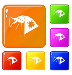 one person tent icons set color vector image
