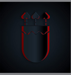 Paper cut quiver and arrows with heart icon vector