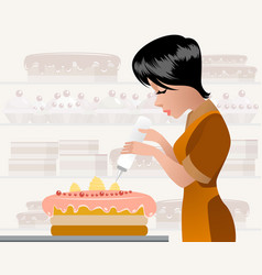 Pastry chef decorating a cake vector